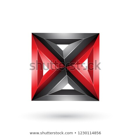 red and black 3d geometrical embossed square and triangle x shap stock photo © cidepix