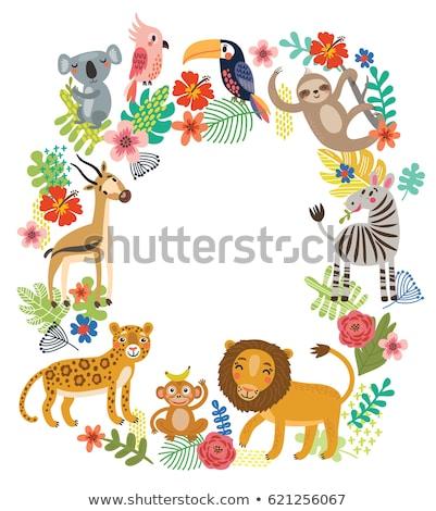Gazelle nature cadre illustration feuille fond Photo stock © bluering