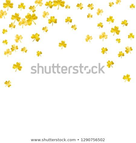 dourado · quadro · verde · trevo · folhas · preto - foto stock © adamson