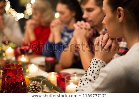 Foto d'archivio: Amici · pregando · Natale · cena · home · vacanze