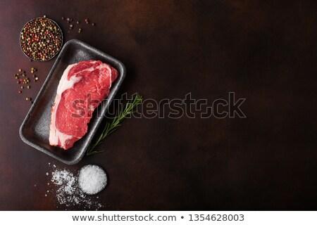 ストックフォト: 生 · サーロイン · プラスチック · トレイ · 塩