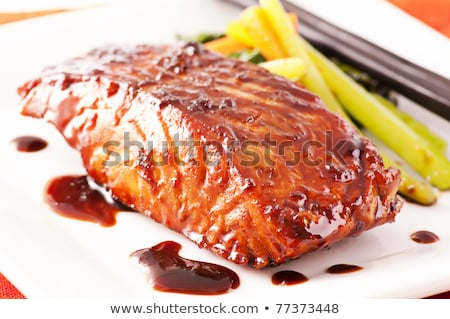 Stock photo: Teriyaki salmon on the white plate