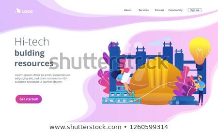 Innovatieve bouwmaterialen app interface sjabloon gebouw Stockfoto © RAStudio