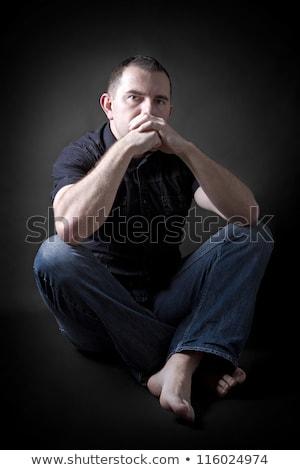 低い キー 肖像 男 座って 暗い ストックフォト © Lopolo
