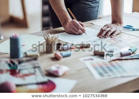 Férfi szabó dolgozik műhely új dizájnok Stock fotó © Elnur