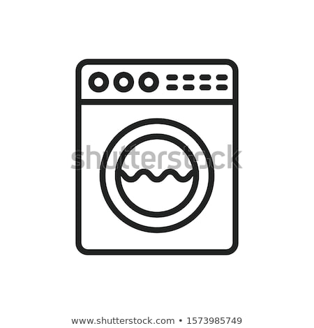 Wasserij wasmachine icon schets illustratie vector Stockfoto © pikepicture