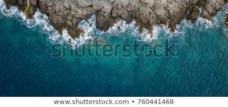 Widok z lotu ptaka morza fale fantastyczny wybrzeża plaży Zdjęcia stock © galitskaya