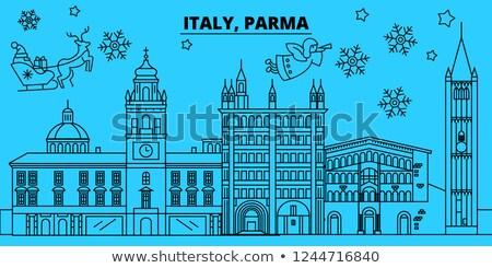 Outline Parma Skyline with Blue Buildings. Stock photo © ShustrikS
