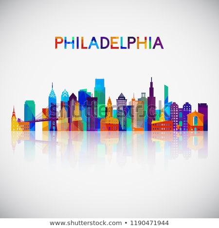 Absztrakt Philadelphia sziluett szín épületek üzleti út Stock fotó © ShustrikS
