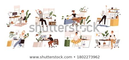 Egzersiz bilgisayar büro evden çalışma çalışmak harita Stok fotoğraf © AndreyPopov