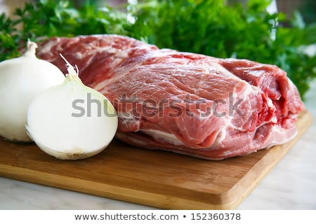 Plakje ruw rundvlees biefstuk houten Stockfoto © DenisMArt