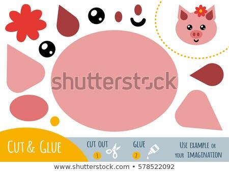Educação papel jogo crianças porco cortar Foto stock © natali_brill