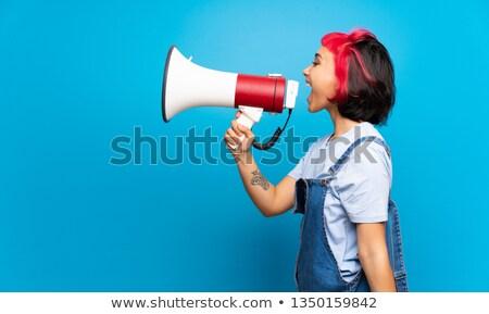 Fiatal személy kiált hangfal tőke felirat Stock fotó © ra2studio