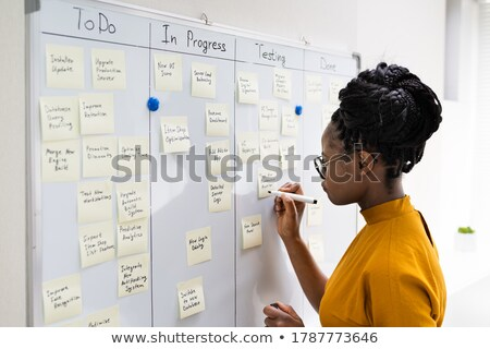 Stock photo: businesswoman writing a  project