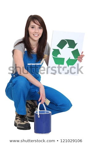A female painter promoting recycling. Stock photo © photography33