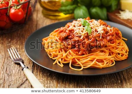 спагетти соус болоньезе базилик продовольствие вилка томатный Сток-фото © M-studio