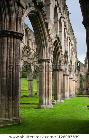 Oude abdij detail glas steen boog Stockfoto © david010167