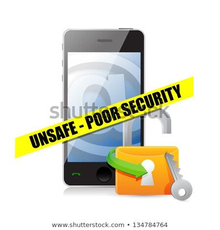 Locked and unlocked phones illustration design over white Stock photo © alexmillos