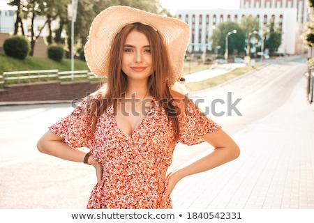 Retrato atractivo elegante mujer sexy sombrero estilo retro Foto stock © pxhidalgo