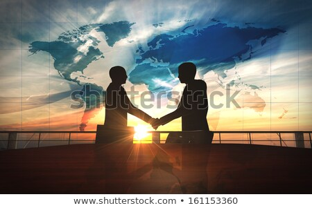 3d · mensen · handen · schudden · 3d · render · mannen · permanente · wereldkaart - stockfoto © kirill_m