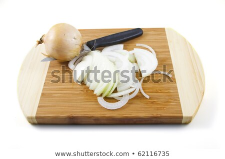 Freshly Sliced Onion and Knife on Bamboo Board  Stock photo © tab62