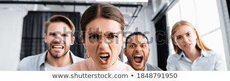 сердиться · деловая · женщина · портрет · женщину · бумаги · работник - Сток-фото © dukibu
