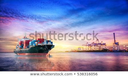 goederen · container · schip · kraan · schemering · vracht - stockfoto © tungphoto