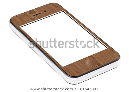 wooden smart cell touchscreen mobile phone stylized in paper notebook with blank display (isolated o Stock photo © vizarch