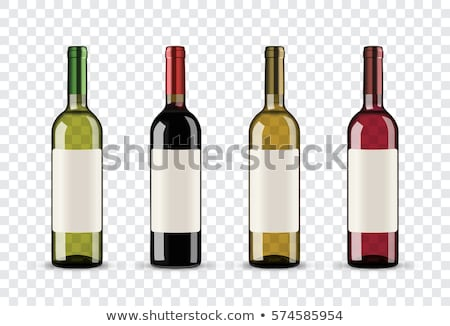 Completo vinho tinto garrafa uvas isolado branco Foto stock © natika