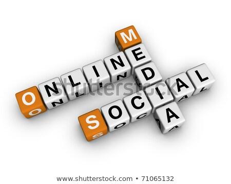 Social Media News - Gold 3d Words Stok fotoğraf © ALMAGAMI