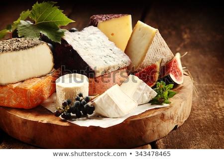Peynir gıda tablo mavi akşam yemeği üzüm Stok fotoğraf © neillangan