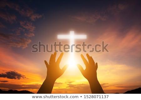 feltámadás · illusztráció · ima · férfi · kereszt · sziluett - stock fotó © adrenalina