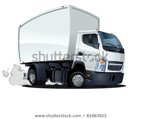 Cartoon levering vracht vrachtwagen geïsoleerd witte Stockfoto © mechanik