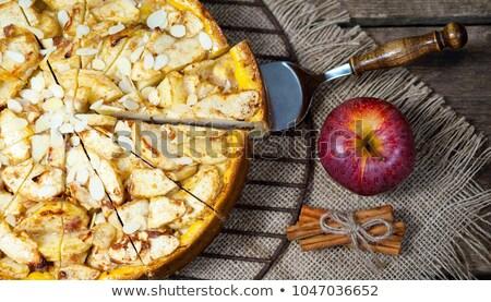 Almák mazsola pite krém és szelektív fókusz Stock fotó © zoryanchik