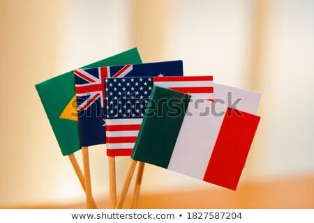 EUA Austrália miniatura bandeiras isolado branco Foto stock © tashatuvango