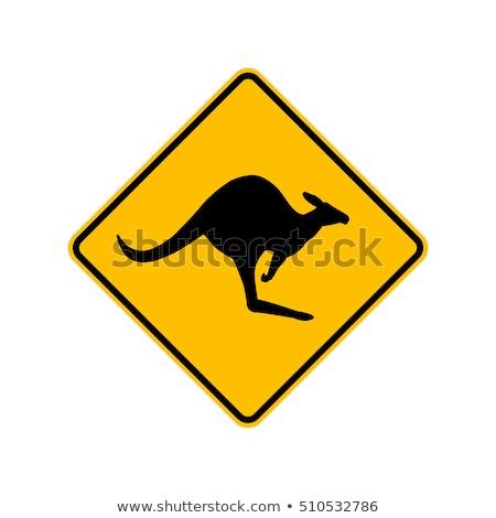 Kangur podpisania ostrożność ilustracja wygaśnięcia krajobraz Zdjęcia stock © adrenalina
