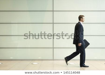 Vue de côté jeunes affaires marche passage bureau Photo stock © HASLOO