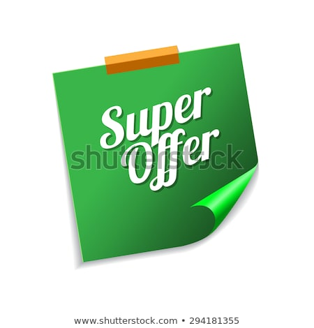 Super bieden groene sticky notes vector icon Stockfoto © rizwanali3d