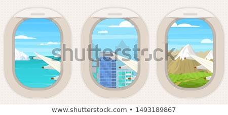Airplane Porthole Window and Summer Clouds Stock photo © stevanovicigor