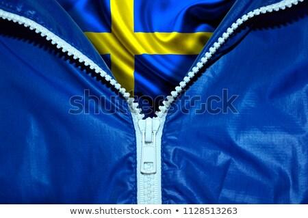 Zweden vlag rits Blauw ontwerp ruimte Stockfoto © fuzzbones0