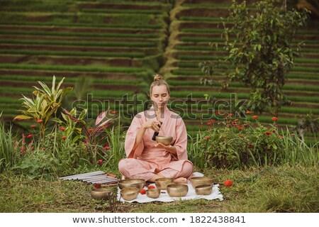 mooie · vrouw · mediteren · vergadering · gras · bergen - stockfoto © Paha_L