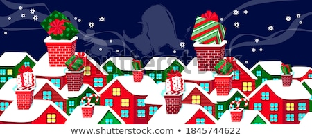 Merry Christmas and Happy New Year card with hand drawn lettering and stars on dark background. Cute Stock photo © rommeo79