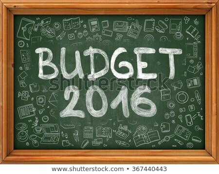 рисованной бюджет 2016 зеленый доске болван Сток-фото © tashatuvango