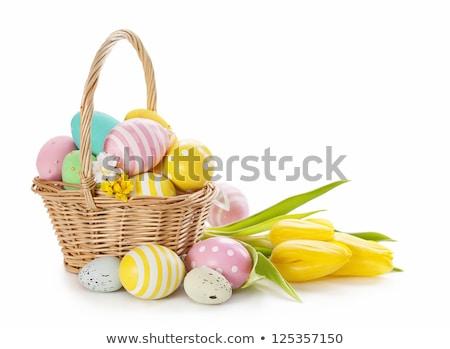 tarka · tojások · fából · készült · rusztikus · húsvét · tavasz - stock fotó © lana_m