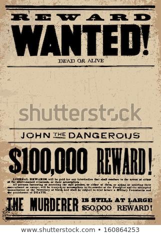 aranan · ödüllendirmek · poster · örnek · kovboy · retro · tarzı - stok fotoğraf © devon