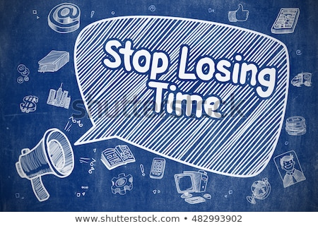 Pare tempo rabisco ilustração azul quadro-negro Foto stock © tashatuvango