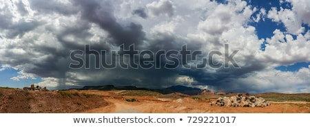 Ominous Stormy Sky and Cumulus Clouds with Rain Pano in the Dese Stock photo © feverpitch