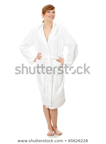 Smiling pretty woman in bathrobe Stock photo © deandrobot