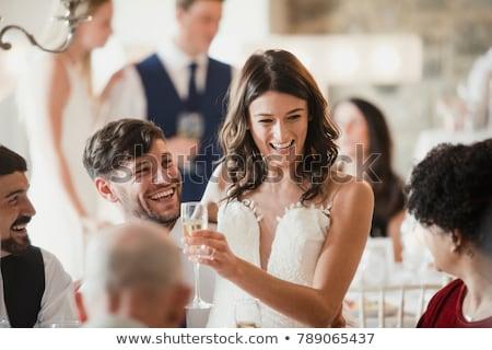 Boda riendo mujer familia hombre pared Foto stock © IS2