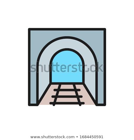 железная дорога туннель линия икона уголки веб Сток-фото © RAStudio